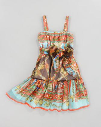 Dolce & Gabbana Printed Silk-Chiffon Sun Dress, Sizes 8-10