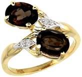 Gabriella Gold 14k Yellow Gold Diamond Natural Smoky Topaz 2-stone Ring Oval 8x6mm, size 8.5