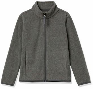 Amazon Essentials Girls' Kids Polar Fleece Full-Zip Mock Jackets Charcoal Heather Grey X-Large
