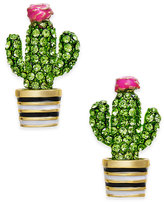 Kate Spade 14k Gold-Plated Green Pavé Cactus Stud Earrings