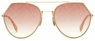 Fendi 55MM Notched Aviator Sunglasses