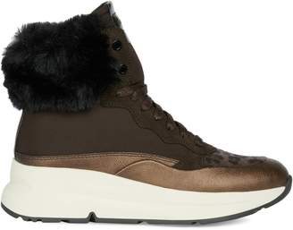 Geox Backsie Faux Fur-Trim Sneaker Boots