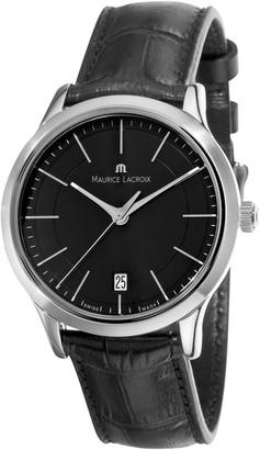 Maurice Lacroix Men's LC1117-SS001330 Les Classiques Quartz Black Dial Leather Strap Watch