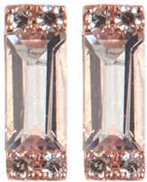 Ef Collection 14K Rose Gold Baguette White Topaz & Diamond Detail Stud Earrings