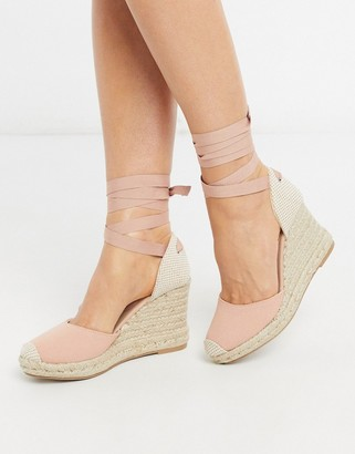 New Look tie up canvas wedges in pink