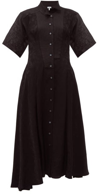 Loewe Feather Jacquard Asymmetric Satin Midi Dress - Womens - Black