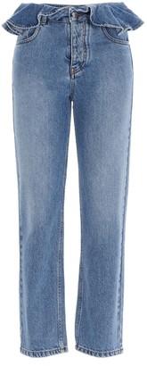 MSGM Ruffled Waist Denim Jeans