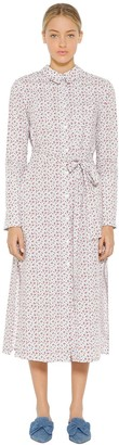 VIVETTA Floral Printed Cotton Poplin Shirt Dress
