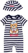 Moschino Striped Cotton Jersey Romper & Hat