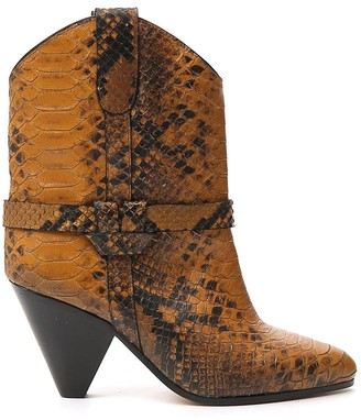 Isabel Marant Snakeskin Effect Conical Heel Boots