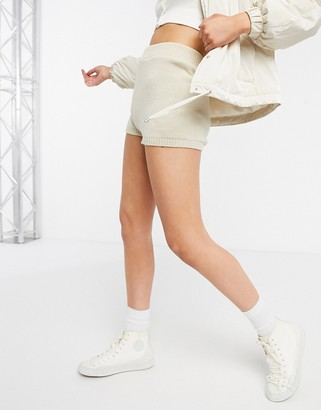 ASOS DESIGN co-ord knitted shorts in stone