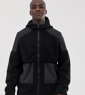 ASOS DESIGN Tall teddy zip through jacket with hood