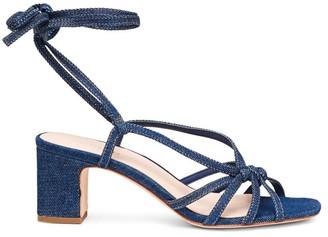 Loeffler Randall Libby Ankle-Wrap Denim Sandals