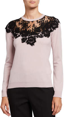 Valentino Cashmere Lace-Trim Sweater