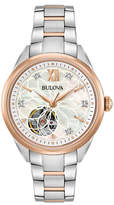 Zales Ladies' Bulova Automatic Diamond Accent Two-Tone Watch with Mother-of-Pearl Skeleton Dial (Model: 98P170)