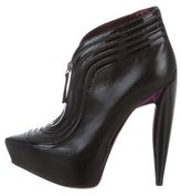 Alexander McQueen Pointed-Toe Platform Booties