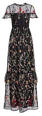ML Monique Lhuillier Women's Short-Sleeve Floral Embroidered Gown