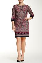 London Times 3/4 Length Sleeve Scroll Paisley Dress (Plus Size)