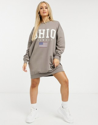 ASOS DESIGN mini sweatshirt dress with Ohio logo in taupe