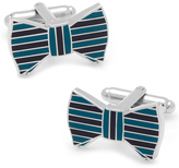 Ox and Bull Trading Co. Teal and Plum Horizontal Striped Bow Tie Cufflinks