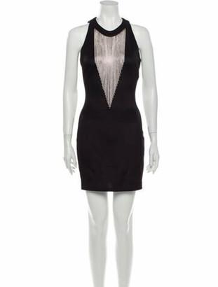 Balmain Crew Neck Mini Dress Black