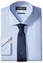 Nick Graham Men's Cotton Poplin Dress Shirt with Houndstooth Tie