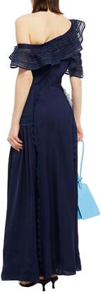 Self-Portrait Lace-trimmed One-shoulder Satin-jacquard Maxi Dress