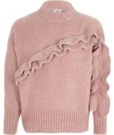 River Island Girls Pink chenille frill jumper