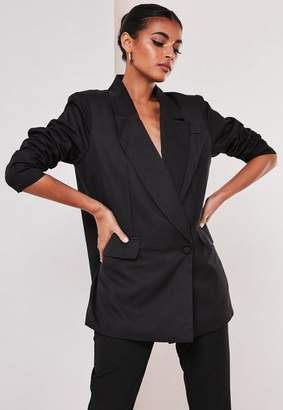 Missguided Tall Black Co Ord Wrap Front Oversized Blazer