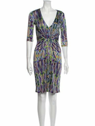 Matthew Williamson Printed Knee-Length Dress Purple