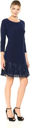 Tiana B Women's Knit with Sequin Flounce Dress