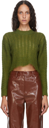 Tibi Green Nuage Cropped Crewneck