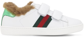 Gucci Leather & Faux Fur Strap Sneakers