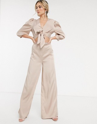 John Zack satin wide leg pants in cream