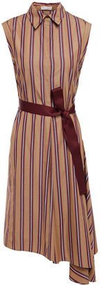 Brunello Cucinelli Pleated Striped Cotton-poplin Dress