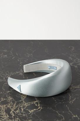 Prada Appliqued Satin Headband - Blue