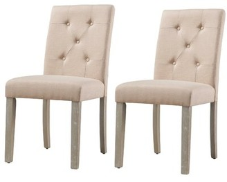 Winston Porter Jibril Tufted Upholstered Parsons Dining Chair Upholstery Color: Beige, Leg Color: Brown