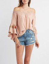 Charlotte Russe Embroidered Off-The-Shoulder Bell Sleeve Top