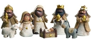 Transpac Trans Pac Resin White Christmas Look Baby Nativity - Set of 8