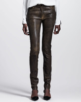 Alexander Wang Distressed Leather Skinny Jeans