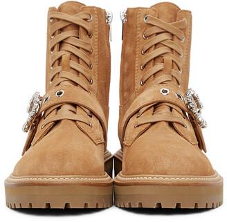 Jimmy Choo Tan Cora Crystal Combat Boots