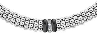 "Lagos Sterling Silver Black Caviar Diamond & Ceramic Station Necklace, 16"""