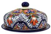 Handcrafted Talavera-Style Ceramic Covered Serving Plate, 'Radiant Flowers'