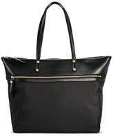Merona Women's Solid Nylon Work Tote with Faux Leather Trim Black