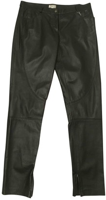 Philosophy di Alberta Ferretti Black Leather Trousers for Women