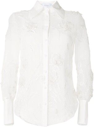 Marchesa Embroidered Floral Shirt