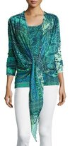 Fuzzi 3/4-Sleeve Mosaic-Print Tie-Front Cardigan, Turquoise