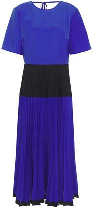 Markus Lupfer Pleated Color-block Crepe De Chine Midi Dress