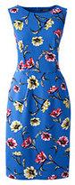 Lands' End Women's Tall Sleeveless Ponté Sheath Dress-Bright Boreal Blue Floral
