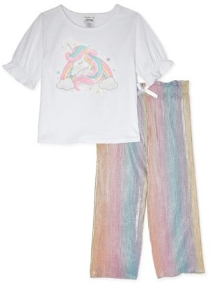 Forever Me Girls Unicorn Graphic Ruffle Sleeve Tee and Rainbow Palazzo Pant, 2-Piece Outfit Set, Sizes 4-6x